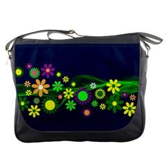 Flower Power Flowers Ornament Messenger Bags by Onesevenart