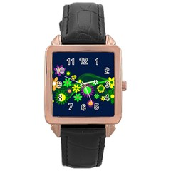 Flower Power Flowers Ornament Rose Gold Leather Watch  by Onesevenart