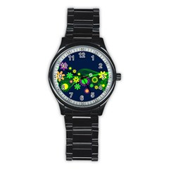 Flower Power Flowers Ornament Stainless Steel Round Watch by Onesevenart