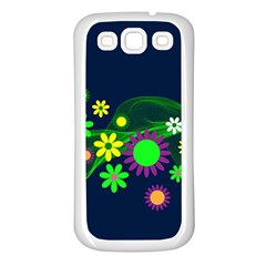 Flower Power Flowers Ornament Samsung Galaxy S3 Back Case (white) by Onesevenart