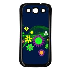 Flower Power Flowers Ornament Samsung Galaxy S3 Back Case (black) by Onesevenart