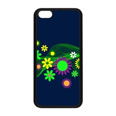 Flower Power Flowers Ornament Apple Iphone 5c Seamless Case (black) by Onesevenart