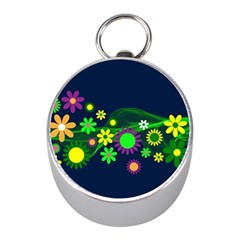 Flower Power Flowers Ornament Mini Silver Compasses by Onesevenart