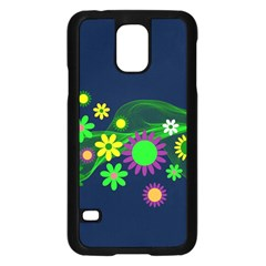 Flower Power Flowers Ornament Samsung Galaxy S5 Case (black) by Onesevenart