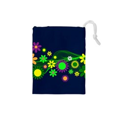 Flower Power Flowers Ornament Drawstring Pouches (small)  by Onesevenart