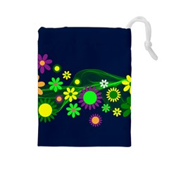 Flower Power Flowers Ornament Drawstring Pouches (large)  by Onesevenart
