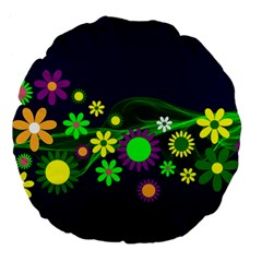 Flower Power Flowers Ornament Large 18  Premium Flano Round Cushions by Onesevenart
