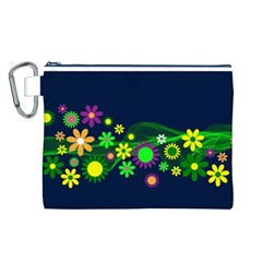 Flower Power Flowers Ornament Canvas Cosmetic Bag (l) by Onesevenart