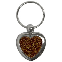 Camouflage Tarn Forest Texture Key Chains (heart)  by Onesevenart