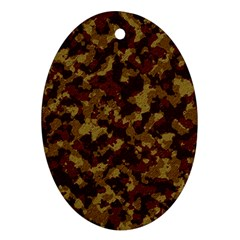 Camouflage Tarn Forest Texture Oval Ornament (two Sides) by Onesevenart