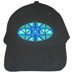Grid Geometric Pattern Colorful Black Cap by Onesevenart