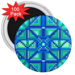 Grid Geometric Pattern Colorful 3  Magnets (100 Pack) by Onesevenart