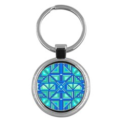 Grid Geometric Pattern Colorful Key Chains (round)  by Onesevenart