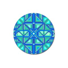 Grid Geometric Pattern Colorful Magnet 3  (round) by Onesevenart