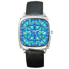 Grid Geometric Pattern Colorful Square Metal Watch by Onesevenart