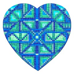 Grid Geometric Pattern Colorful Jigsaw Puzzle (heart) by Onesevenart