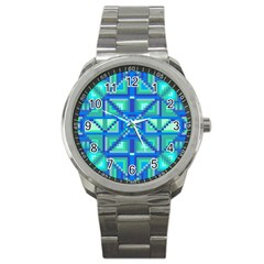 Grid Geometric Pattern Colorful Sport Metal Watch by Onesevenart