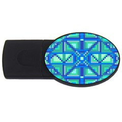 Grid Geometric Pattern Colorful Usb Flash Drive Oval (4 Gb) by Onesevenart