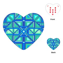 Grid Geometric Pattern Colorful Playing Cards (heart)  by Onesevenart