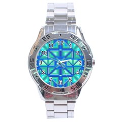 Grid Geometric Pattern Colorful Stainless Steel Analogue Watch by Onesevenart