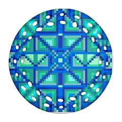 Grid Geometric Pattern Colorful Round Filigree Ornament (two Sides) by Onesevenart