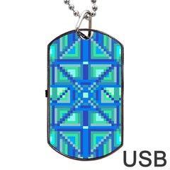 Grid Geometric Pattern Colorful Dog Tag Usb Flash (one Side) by Onesevenart