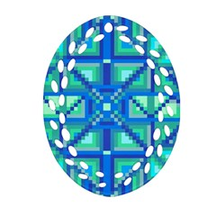 Grid Geometric Pattern Colorful Ornament (oval Filigree) by Onesevenart