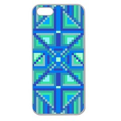 Grid Geometric Pattern Colorful Apple Seamless Iphone 5 Case (clear) by Onesevenart