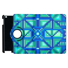Grid Geometric Pattern Colorful Apple Ipad 2 Flip 360 Case by Onesevenart