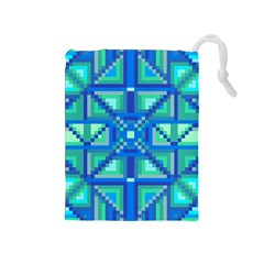 Grid Geometric Pattern Colorful Drawstring Pouches (medium)  by Onesevenart