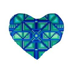 Grid Geometric Pattern Colorful Standard 16  Premium Flano Heart Shape Cushions by Onesevenart