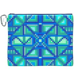 Grid Geometric Pattern Colorful Canvas Cosmetic Bag (xxxl) by Onesevenart