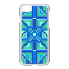 Grid Geometric Pattern Colorful Apple Iphone 7 Seamless Case (white) by Onesevenart