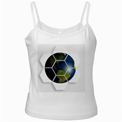 Hexagon Diamond Earth Globe White Spaghetti Tank by Onesevenart