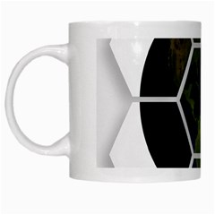 Hexagon Diamond Earth Globe White Mugs by Onesevenart