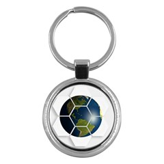 Hexagon Diamond Earth Globe Key Chains (round)  by Onesevenart
