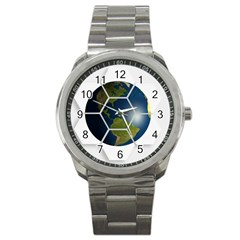 Hexagon Diamond Earth Globe Sport Metal Watch by Onesevenart