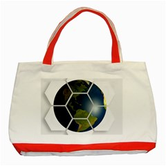 Hexagon Diamond Earth Globe Classic Tote Bag (red) by Onesevenart