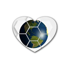 Hexagon Diamond Earth Globe Heart Coaster (4 Pack)  by Onesevenart