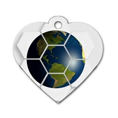 Hexagon Diamond Earth Globe Dog Tag Heart (two Sides) by Onesevenart