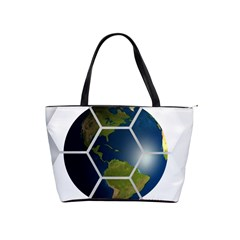 Hexagon Diamond Earth Globe Shoulder Handbags by Onesevenart