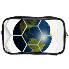 Hexagon Diamond Earth Globe Toiletries Bags 2 Side by Onesevenart