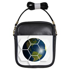 Hexagon Diamond Earth Globe Girls Sling Bags by Onesevenart