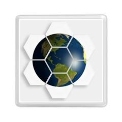 Hexagon Diamond Earth Globe Memory Card Reader (square)  by Onesevenart