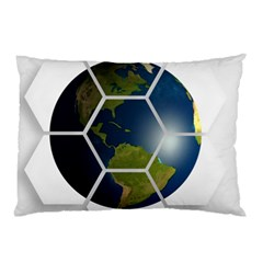 Hexagon Diamond Earth Globe Pillow Case (two Sides) by Onesevenart