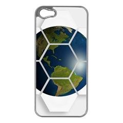 Hexagon Diamond Earth Globe Apple Iphone 5 Case (silver) by Onesevenart