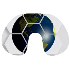 Hexagon Diamond Earth Globe Travel Neck Pillows by Onesevenart