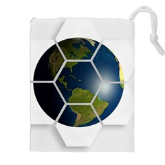 Hexagon Diamond Earth Globe Drawstring Pouches (xxl) by Onesevenart