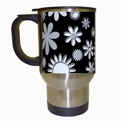 Flower Power Flowers Ornament Travel Mugs (white) by Onesevenart