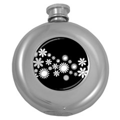 Flower Power Flowers Ornament Round Hip Flask (5 Oz) by Onesevenart